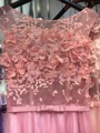 2016 Розовый 3D Бисером Жемчуг Аппликации Рукавов Sheer Вернуться Длинные Вечернее Платье Платья Лук Sash Халат Де Вечер GD167