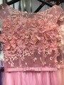2016 Rosa 3D Pérolas Frisado Apliques Mangas Sheer Voltar Longo noite do baile de Finalistas Do Partido Vestidos Vestido Bow Sash vestido de Robe De Soirée GD167