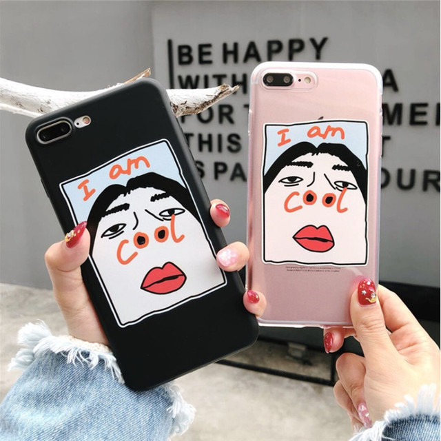 1cdaf6b071 Funny Cartoon Couples Phone Cases For iphone 5 5S SE 6 6S 7 8 plus For  iphone XS MAX XR Silicone Back Cover I'm Cool Letter Case