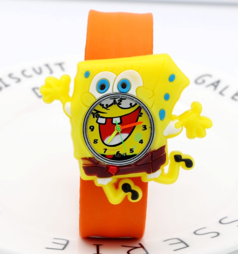Brand Cartoon Casual Cloth Art Children Slap Clocks Kids Girls Boys Spongebob Squarepants Quartz Sports Wrist Watches