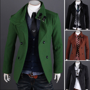 2014 Top Fasion Seconds Kill Satin Fashion 13 Autumn Solid Color Fashionable All-match Wool Double Breasted Coat Male Design