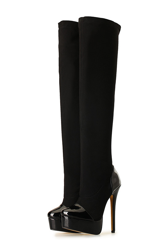 16cm Round head side zip knee-high  platform sexy  patent leather boots big size 8.5-18 - Patent leather black