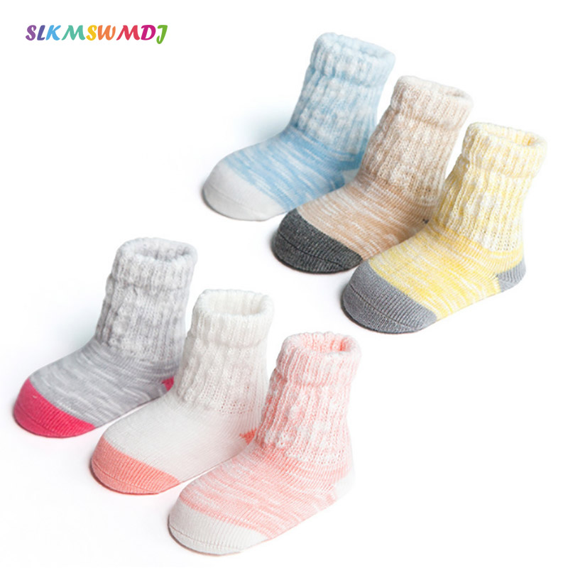 SLKMSWMDJ Spring /Autumn boys and girls baby cotton socks boneless tube patchwork children socks XS S M For 0-1-3 years 3 pairs