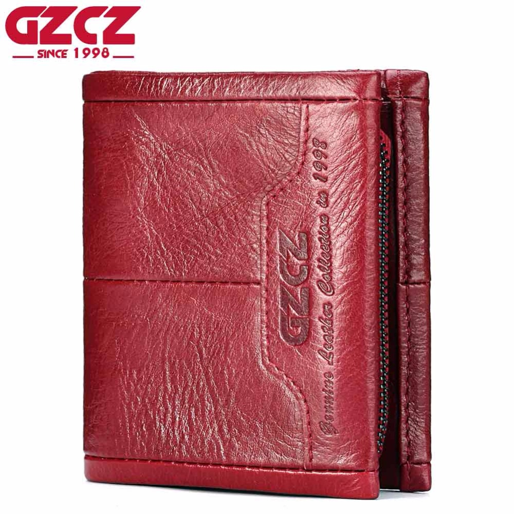 GZCZ Genuine Leather Women Wallet Female Zipper Small Walet Clamp For Money Coin Purse Card Holder Portomonee Mini Purse Rfid
