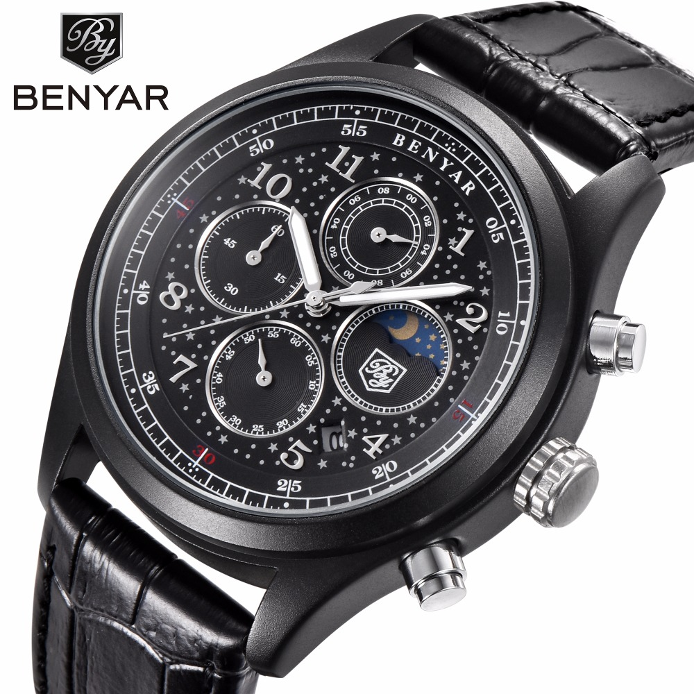 все цены на BENYAR Brand Fashion Men Watch Top Brand Luxury Male Leather sport Waterproof Chronograph Quartz Military WristWatch Mens Clock онлайн