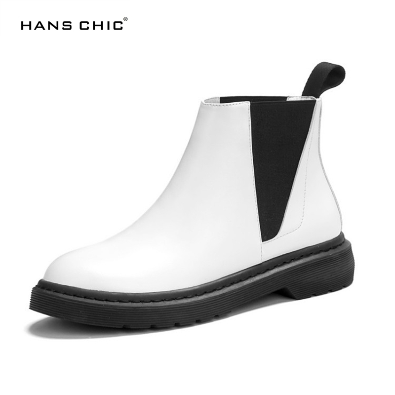 HANSCHIC 2017 New Arrival White High Quality Real Cow Leather Ladies Womens Casual Boots Shoes for Female with Special Heel B449 baoyafang new arrival white pearl tessal womens wedding shoes high heels platform shoes real leather insole high pumps female