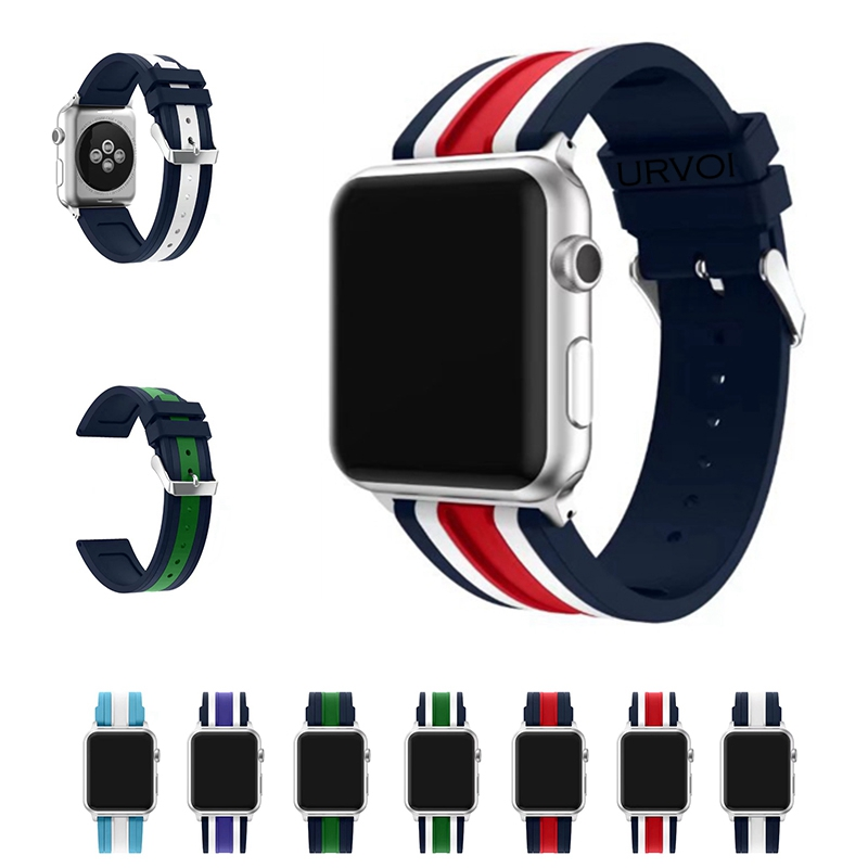 URVOI sport band for apple watch series 1 2 strap for iWatch Soft Silicone mix stripe NATO colors Replacement band with adapters 38mm 42mm soft silicone sport strap for apple watch series 1 2 light flexible breathable replacement band watch strap for iwatch