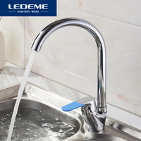 LEDEME Chrome Plated Kitchen Faucet Pipe 360 Degree Rotation Water Purification Features Color Single Handle Faucets L5953 2