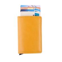 Męski metalowy posiadacz karty RFID aluminiowa karta kredytowa posiadacz 2019 najnowszy PU skórzany portfel antykradzieżowe mężczyźni automatyczna karta Case tanie tanio Posiadacze kart IDENTYFIKATOROWYCH W MOJOYCE Unisex 10 cm Pole Masz Bez zamków błyskawicznych Moda Stop aluminium + PU