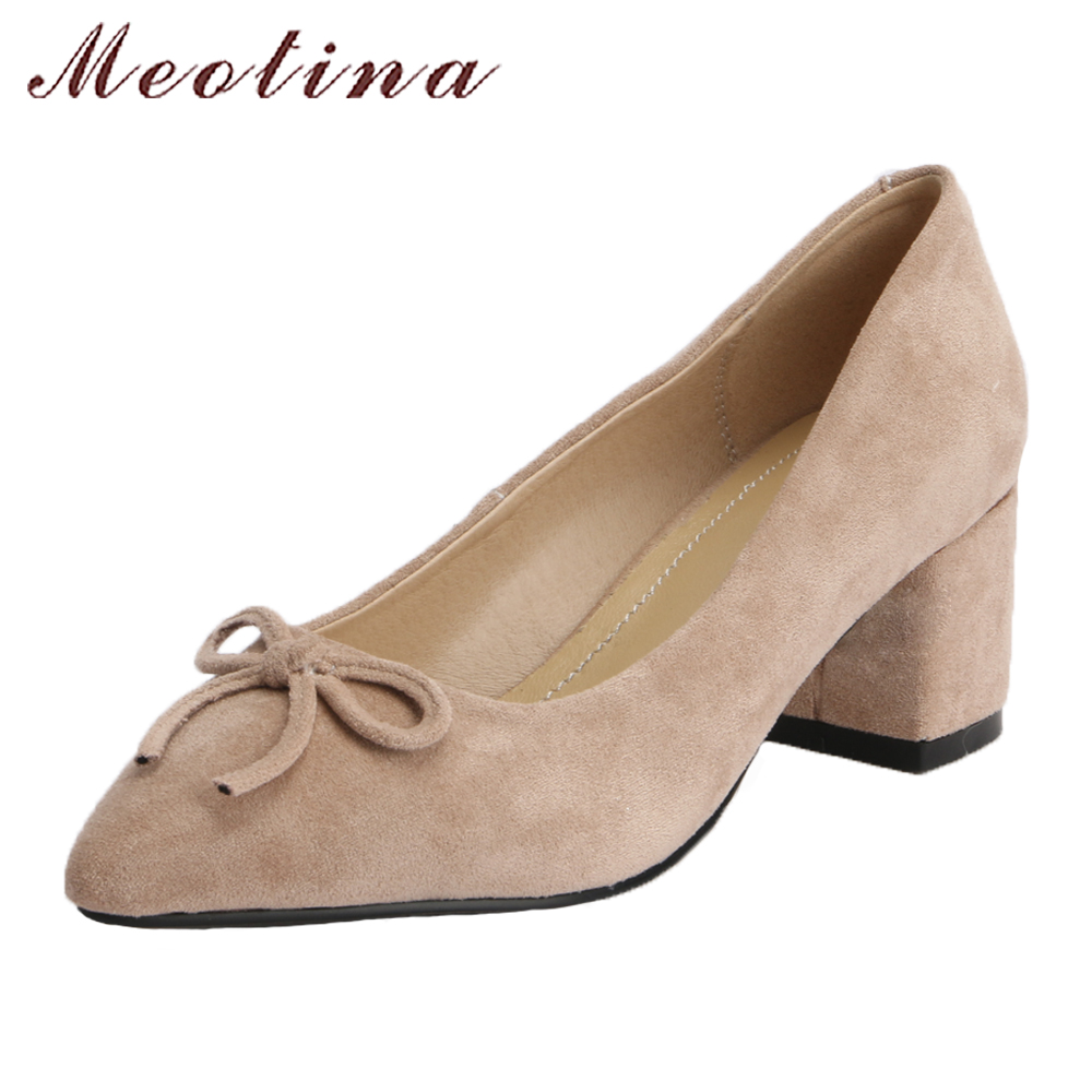 Meotina High Heels Women Shoes 2018 Bow-knot Pointed Toe Party Shoes Pumps Block High Heels Slip On Ladies Shoes Plus Size 43 meotina genuine leather women shoes female plaid party shoes block heel bow strap high heels kid suede ladies pumps 2018 spring