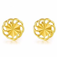 Authentic 24k Yellow Gold Earrings Women Great Heart Circle Stud Earrings