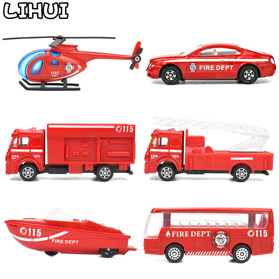 6 Kinds Diecast Fire Truck Mini Alloy Glide Car Model Toys Plastic Vehicles Toys Helicopter Speedboat Gifts For Boys Kids Game