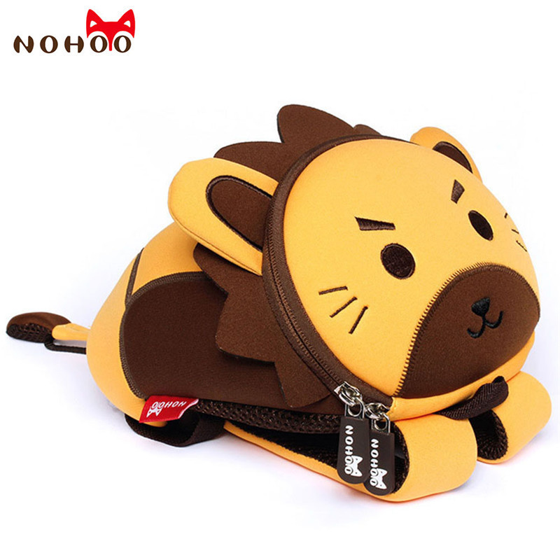 NOHOO 3D Kids School Backpacks Cute Lion Animals Waterproof Bag Cartoon Toddler Baby School Bags for Boys Girls Mochila Escolar new children cartoon bags cute elephant mini handbag for girls boys pure cotton animals kids baby bags handmade a limited