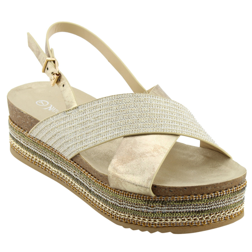 edb496d7c6a EM19 Women s Criss Cross Slingback Chains Beaded Platform Sandals-in Low  Heels from Shoes on Aliexpress.com