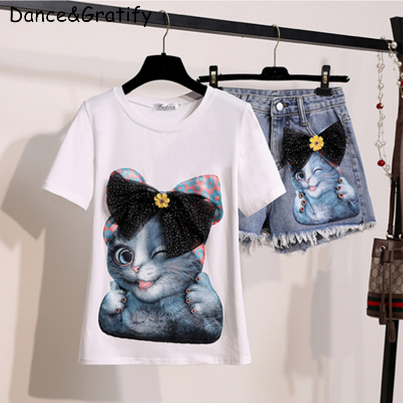 Ankle-length Jeans Pants Casual Two Piece Suit Clear And Distinctive Suits & Sets Women's Clothing 2019 Spring And Summer Women Drill Cat Short-sleeved T-shirt