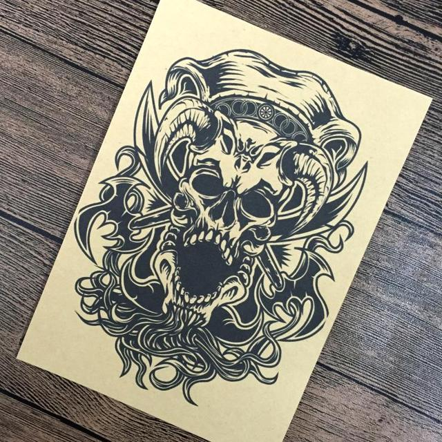 Free ship skull punk chart paint wall kraft paper poster living room sticker posters home also rh aliexpress