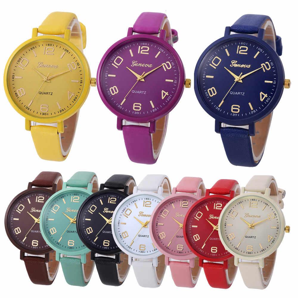 ผู้หญิงแบบสบายๆหมากฮอส Faux Leather Quartz นาฬิกาข้อมือแบบ Analog นาฬิกาแบรนด์หรูผู้หญิงนาฬิกา 2018 dames horloges นาฬิกาผู้หญิง W