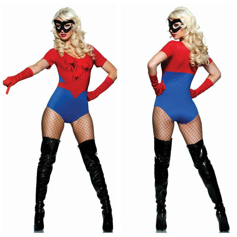 High-quality new Halloween Costume Large size Spider-Man female play sexy superhero game party costume red Factory Outlet