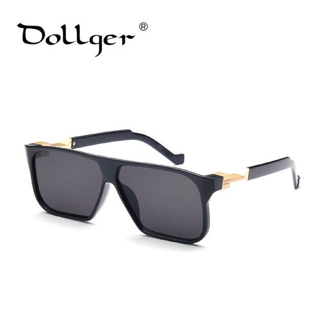 Dollger Marca Steampunk óculos de Sol Quadrados Homens Todos Os Negros Revestimento Óculos de Sol Das Mulheres Designer De Marca Retro gafas de sol UV400 S0493