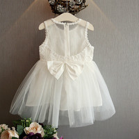 2017 New Lace Flower Girl Dresses Ivory White Wedding Party Birthday Pageant Tulle Bow Princess For