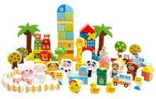 child 102pcs assemblage animal scenario building font b blocks b font wooden educational baby wood toy