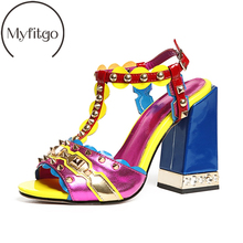 Myfitgo 2019 Fashion Party Gladiator Sandals Women All Leather High Heels T-Strap Ladies Summer Sandals Rivets Colorful Shoes