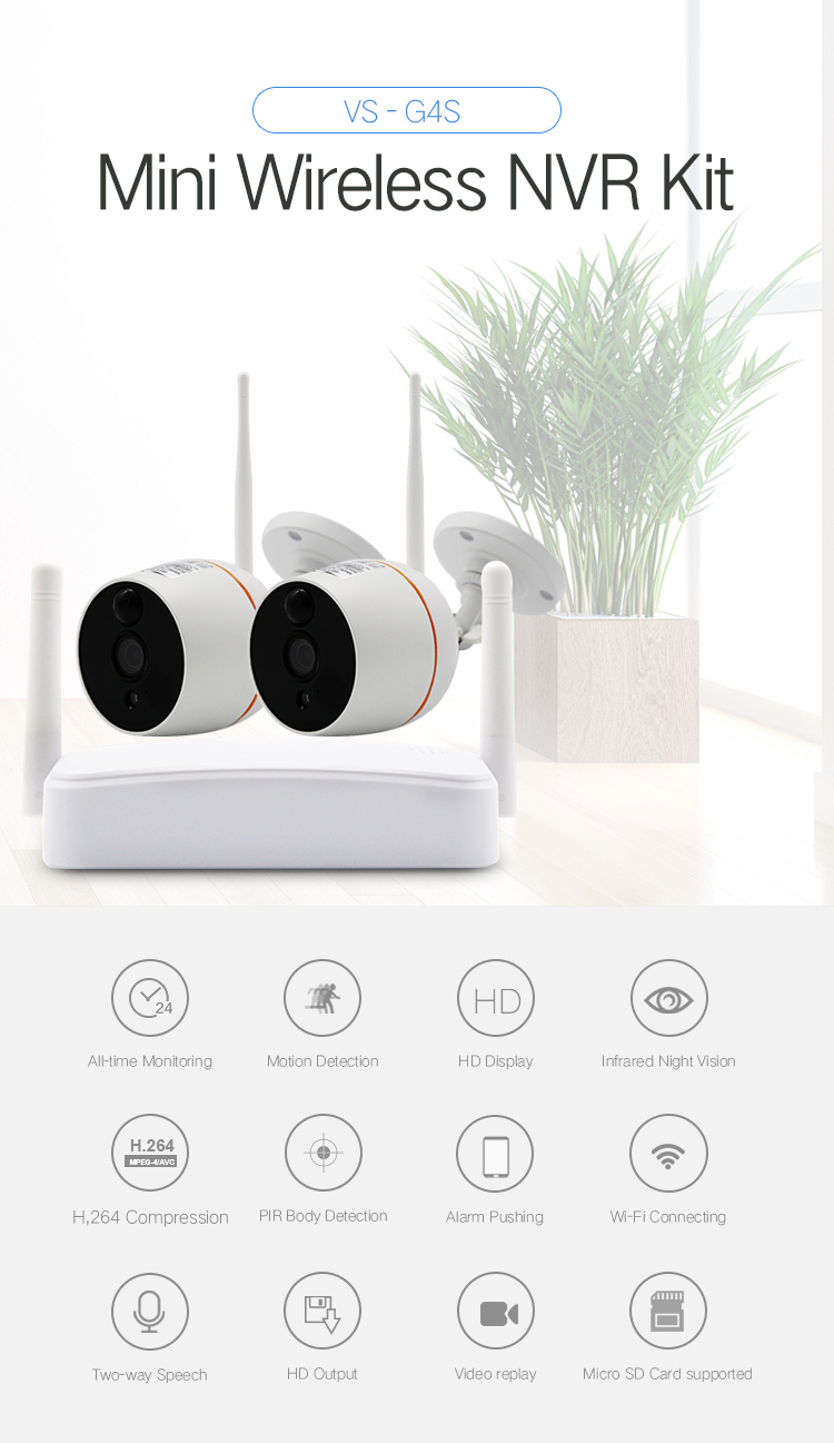 SmartYIBA 1080P Wifi Mini Wireless NVR CCTV Camera Security System Kit Waterproof Video Surveillance Camera Two