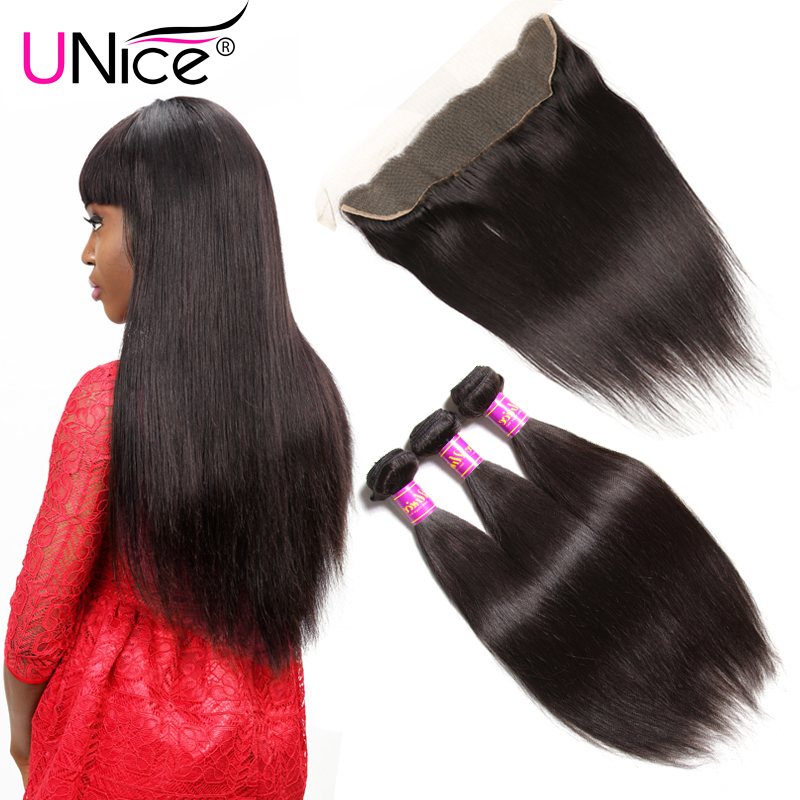 Unice Hair Malaysian Straight Hair Bundles With Lace Frontal Natural Color 4PCS Straight Human Hair Weaving
