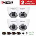 Tmezon  AHD CCTV White Camera 4 pack 1500TVL 960P 1.3 MP High Definition Security Dome Camera 48 IR Leds Night Vision 120ft