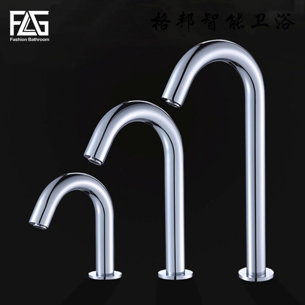 FLG Contemporary Basin Faucet Chrome Faucet Ceramic Plate Spool Water Saving Battery Power Automatic Infrared Sensor