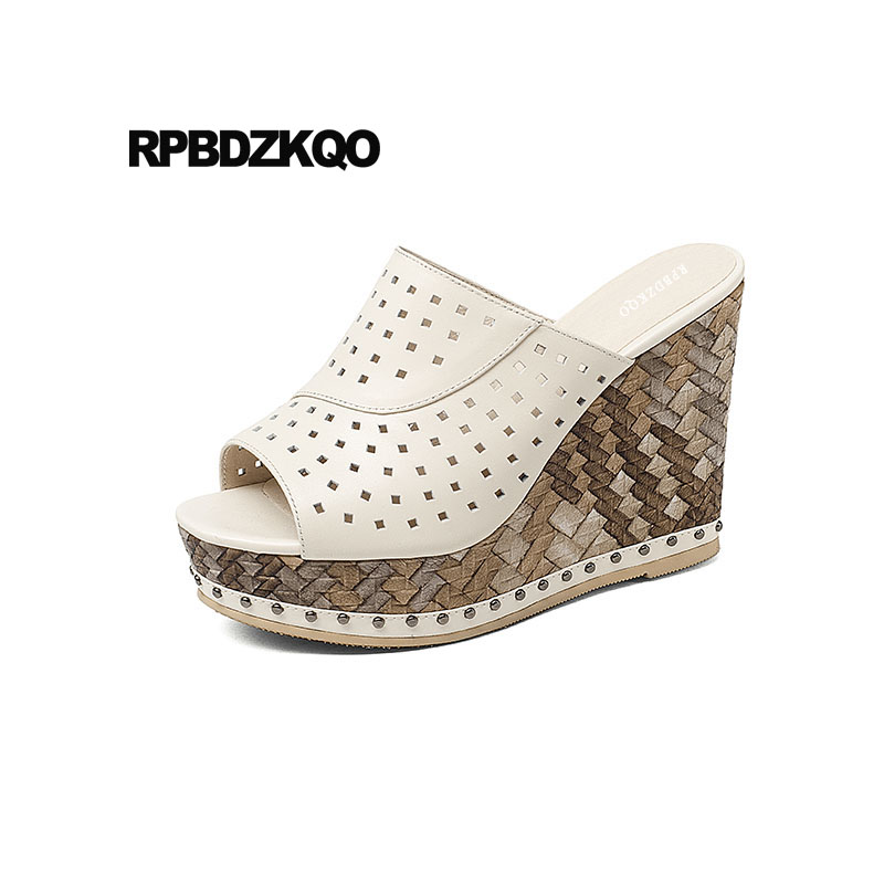 Здесь продается  Shoes Sexy High Heels Pumps Wedge Sandals Platform Designer Peep Toe Slip On Beige Genuine Leather Women 2018 Slides Fetish  Обувь