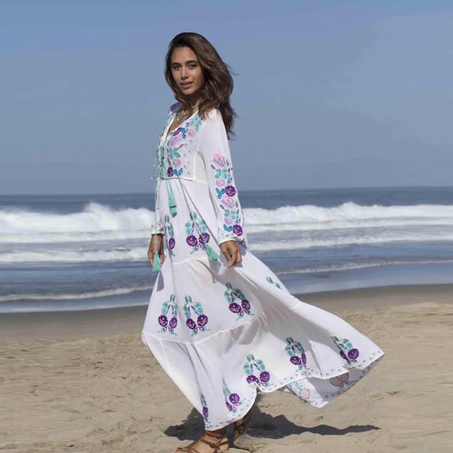 80621e4d7f3b0 BOHOFREE 2019 New Arrivals Boho Fashion White Dresses Long Sleeve Floral  Embroidery Vestidos Gypsy Style Maxi Hippie Beach Dress