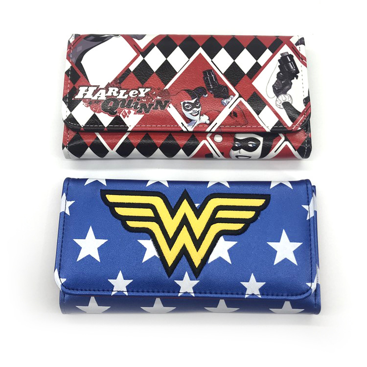 Wonder woman/Suicide Squad  Printed Long snap-fastener Coins Three fold Wallet Unisex Handbag Money Cards Holders Purse