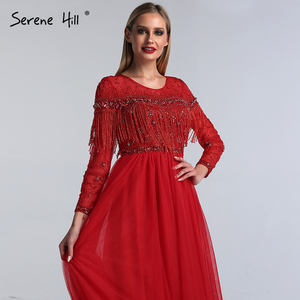 Image 5 - אדום ארוך שרוול דובאי עיצוב שמלות נשף O צוואר ואגלי ציצית יוקרה לנשף שמלות 2020 Serene היל BLA60849