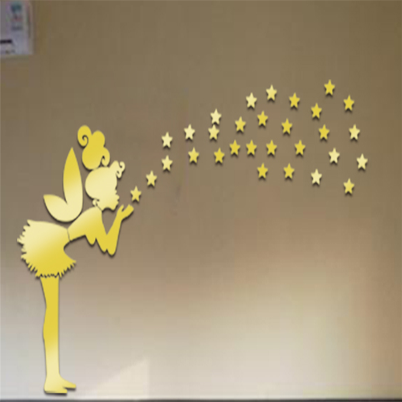 2017new Mirror Wall Stickers Tinkerbell Fairy Princess Stars 3d Wall Stickers For Kids Rooms Muursticker Poster Home Decor