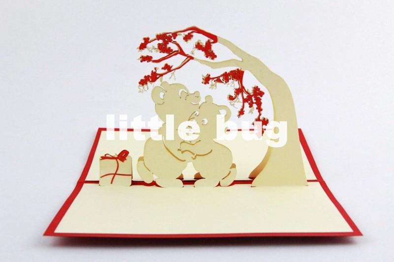 abrazo de oso d tarjetas de navidad tarjetas pop up cubic tarjetas de felicitacin de boda unidslote envo gratis en de en
