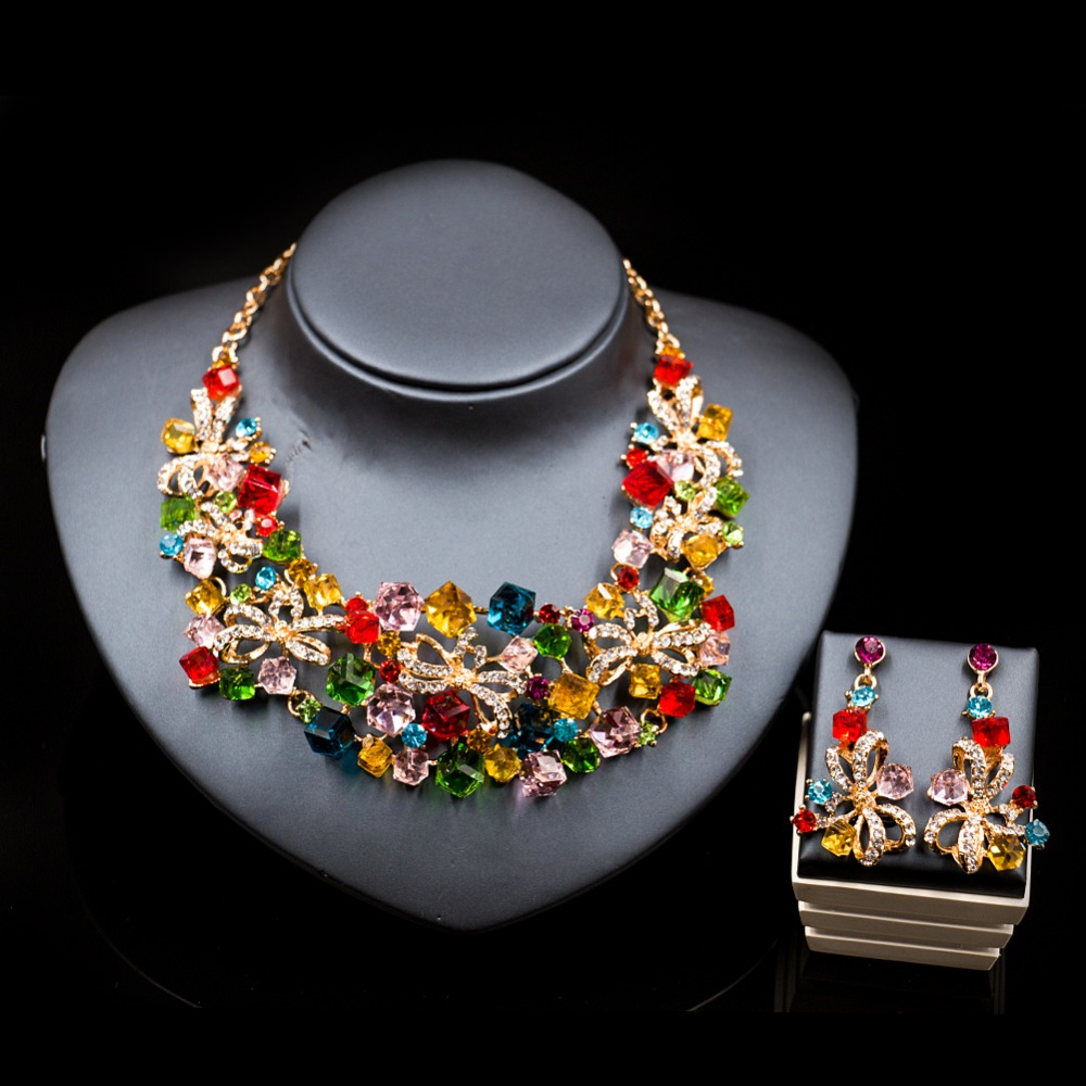 LAN PALACE jewelery costume indian jewelry set nigerian wedding african beads necklace and earrings for party free shipping