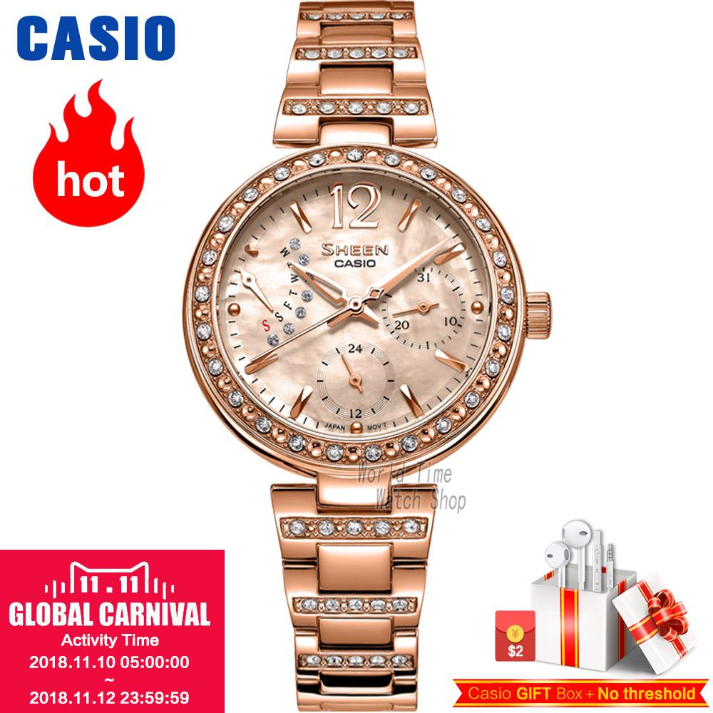 Casio watch Ladies watch fashion rhinestone quartz watch SHE-3043SG-7A SHE-3043PG-9A SHE-3043PG-7A SHE-3043D-7A SHE-3043SPG-7B casio she 4022d 7a