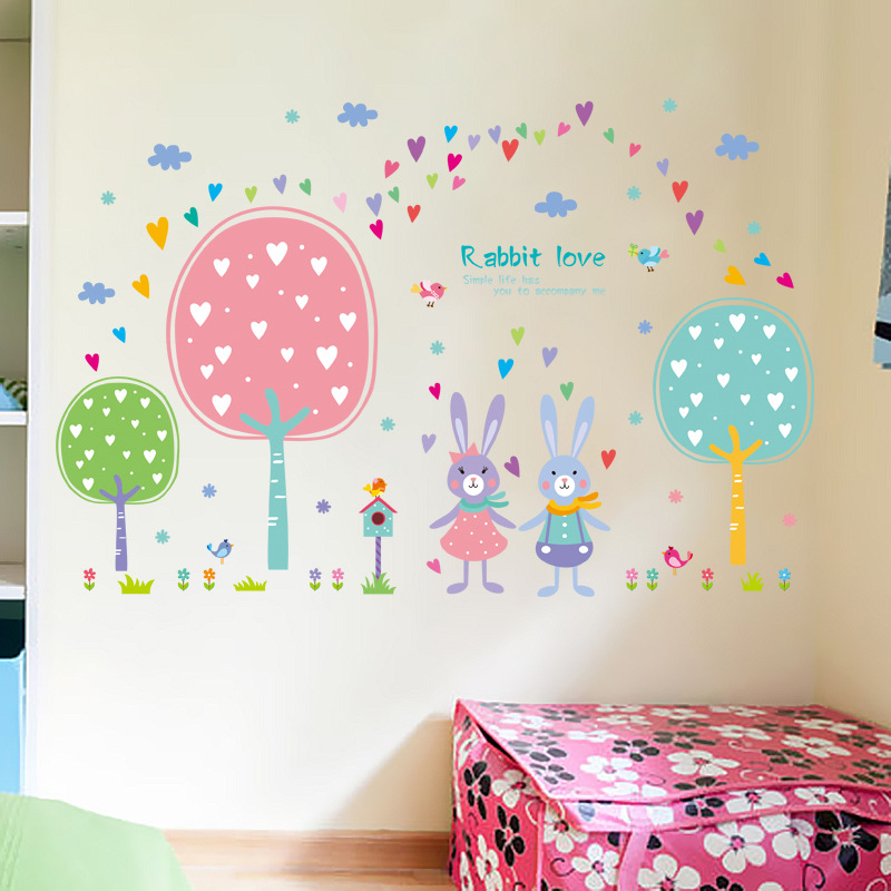 5 designs cartoon animals kids room wall stickers boys girls infant babies wall decals funny cat