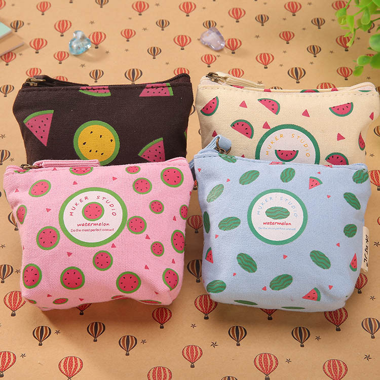 2017 women kid Creative canvas coin purse wallet cute watermelon shape Headphone Bag Card Key Case zipper coins bag pouch pouch japanese pouch small hand carry green canvas heat preservation lunch box bag for men and women shopping mama bag