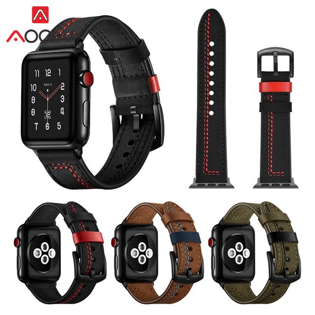 Crazy Horse Genuine Leather Watchband For Apple Watch 38mm 42mm 40 44 Line Men Women Replacement Bracelet Band Strap for iwatch