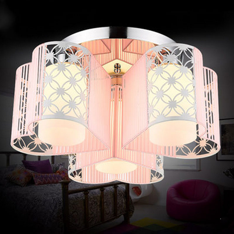 Modern Romantic Heart Shape E27 LED Ceiling Lamp Creative Pink Cloth Circular Chassis Lights for Wedding Room Bedroom LampModern Romantic Heart Shape E27 LED Ceiling Lamp Creative Pink Cloth Circular Chassis Lights for Wedding Room Bedroom Lamp