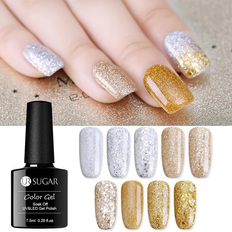 UR SUGAR Champagne Gold Silver Gel 7.5ml Super Shine Glitter Shining Platinum Manicure Soak Off UV Gel Polish Lacquer Varnishes