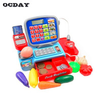 Kids Simulation Supermarket Cash Register Electronic Toys With Foods Money Calculator Educational Pretend Play Toys For