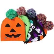 купить 2019 Halloween New Shiny Knit Hat Children's Adult Hat Party Supplies Pumpkin Ghost with Light Cap Halloween Decoration Hat Led по цене 143.87 рублей