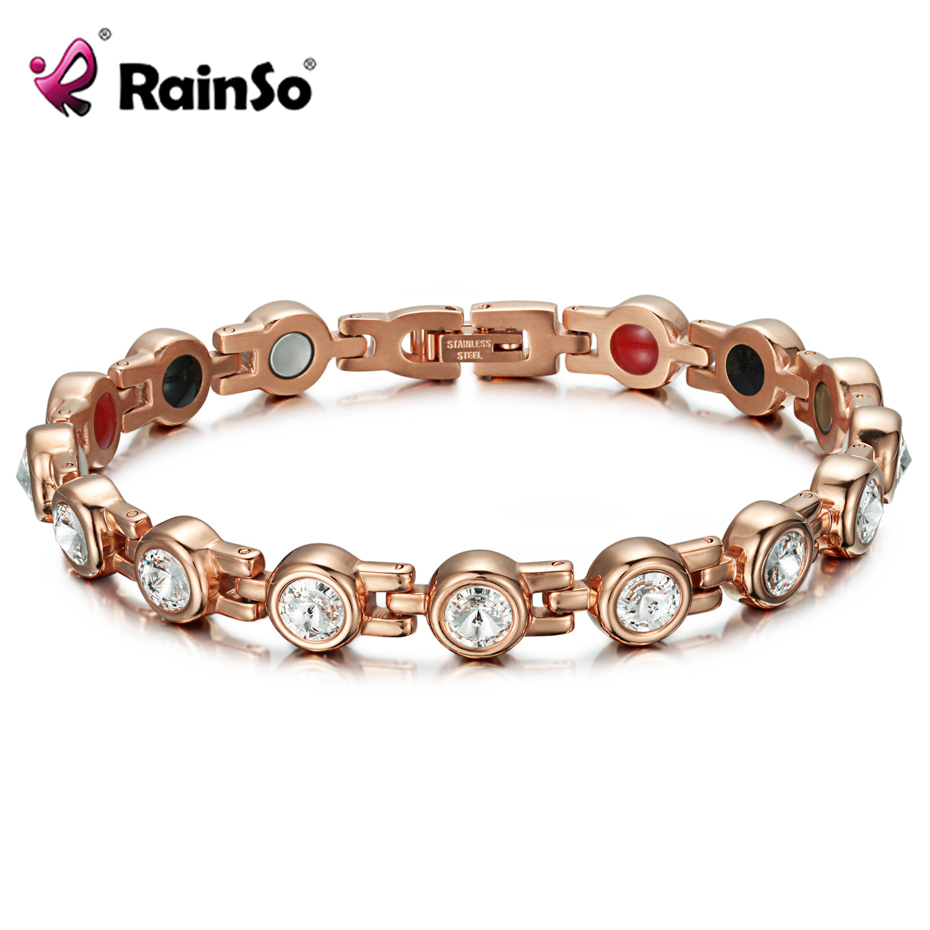 RainSo Magnetic Crystal Bracelets & Bangles Rhinestone Jewelry Women Accessories Healthy Bio Energy Hologram Germanium Bracelets a suit of cute rhinestone elephants alloy bracelets for women