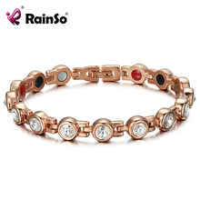 RainSo Magnetic Crystal Bracelets & Bangles Rhinestone Jewelry Women Accessories Healthy Bio Energy Hologram Germanium Bracelets(China)