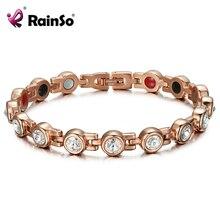 Rainso 磁気クリスタルブレスレット & ラインストーンのジュエリー女性アクセサリー健康バイオエネルギーホログラムゲルマニウムブレスレット
