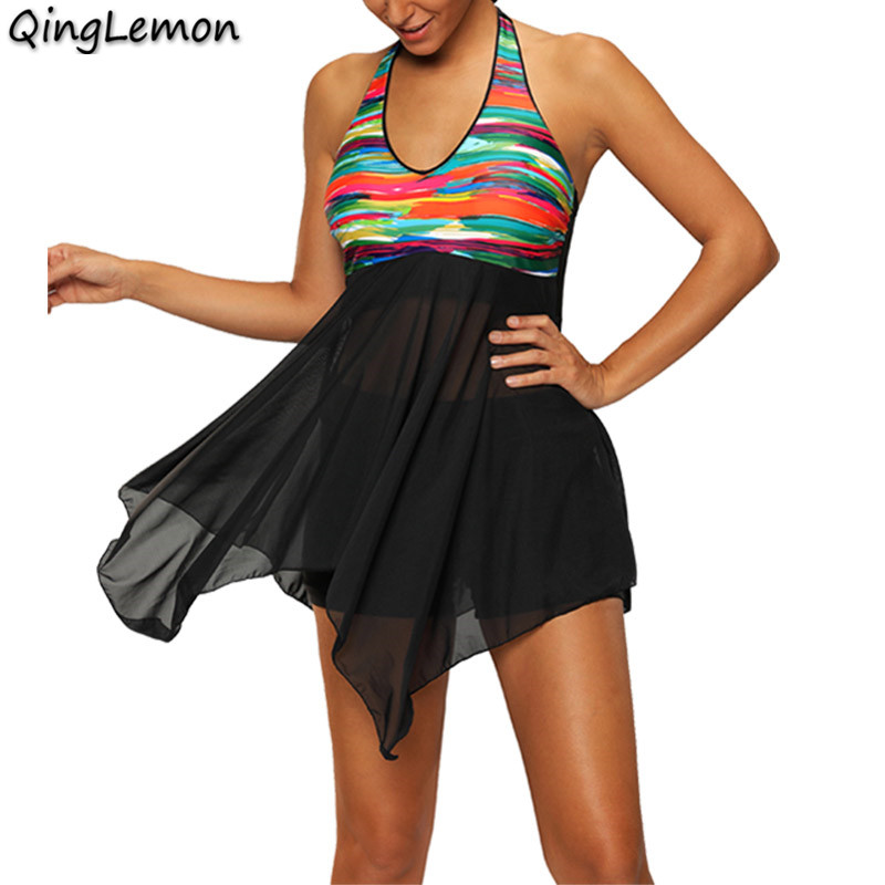 New Swimwear Dress Women Tankini Swimsuits Skirt Beachwear Swimsuit With Shorts Bathing Suits Two Piece Tankini Plus Size S-5XL 2018 new retro print two piece tankini swimsuit shorts plus size women swimwear sports push up bathing suit big size retro l 5xl