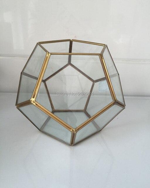 Ручной бонсай Футбол стекла, металла геометрический Террариум сочные папоротник Moss Настольный плантатор Террариум коробка микро пейзаж